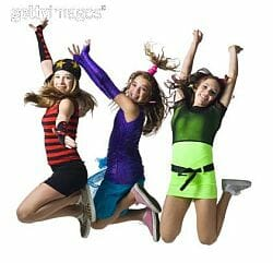 3 young women jumping up for joy