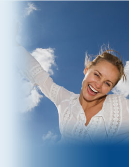 Happy young woman in the clouds