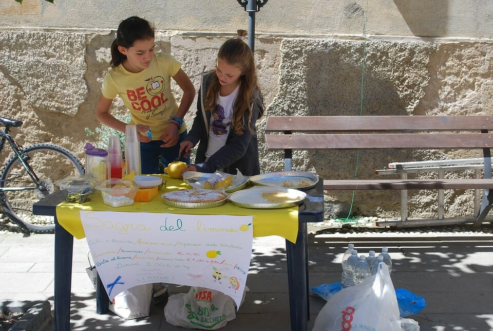 Two girls at a lemonade stand