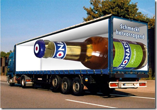 Truck with 3D beer bottle
