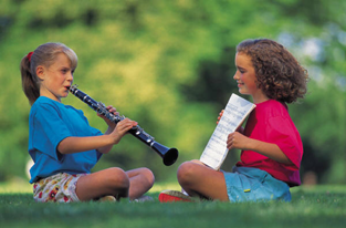 Auditory girls practicing Clarinet