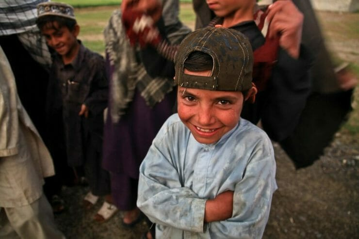 Happy poor Afghani boy