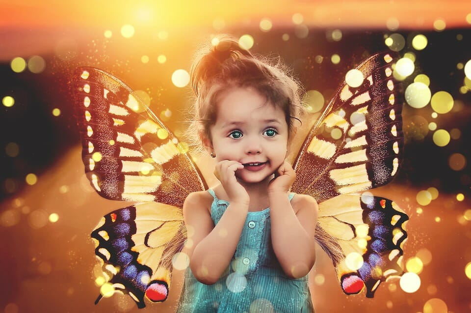 Girl with butterfly wings