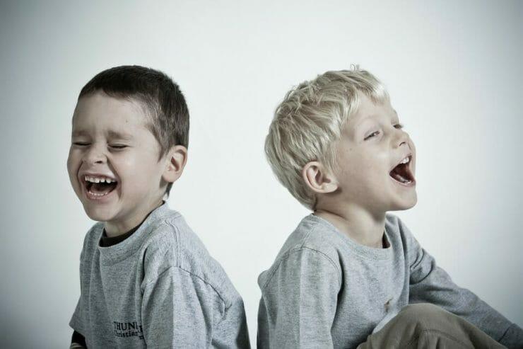 2 boys laughing