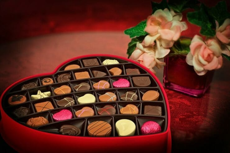 Box of chocolates and flowers for Valentine's Day