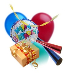 Birthday items: gifts, balloons and wrappers