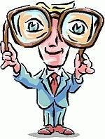 Man looking through huge glasses