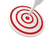 Arrow hitting a target