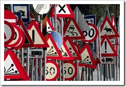 Many road signs
