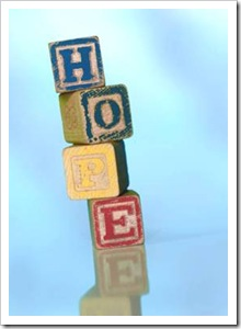 The word HOPE made of blocks