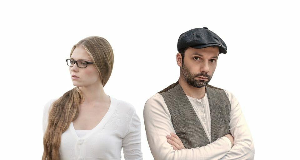 Upset man and woman after a divorce