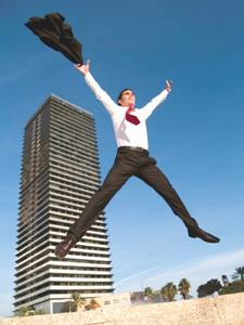 Business man jumping up