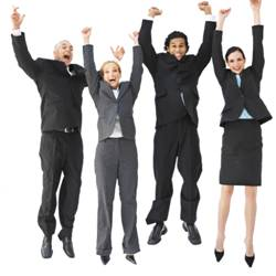 Business people jumping up