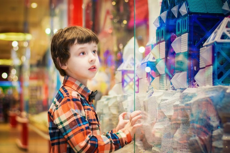 Boy at a toy store window