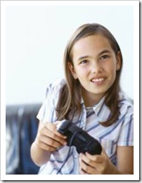 Girl holding a game console