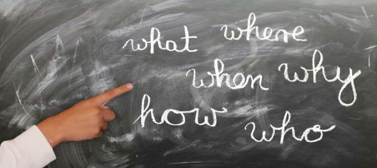Open question words on a board
