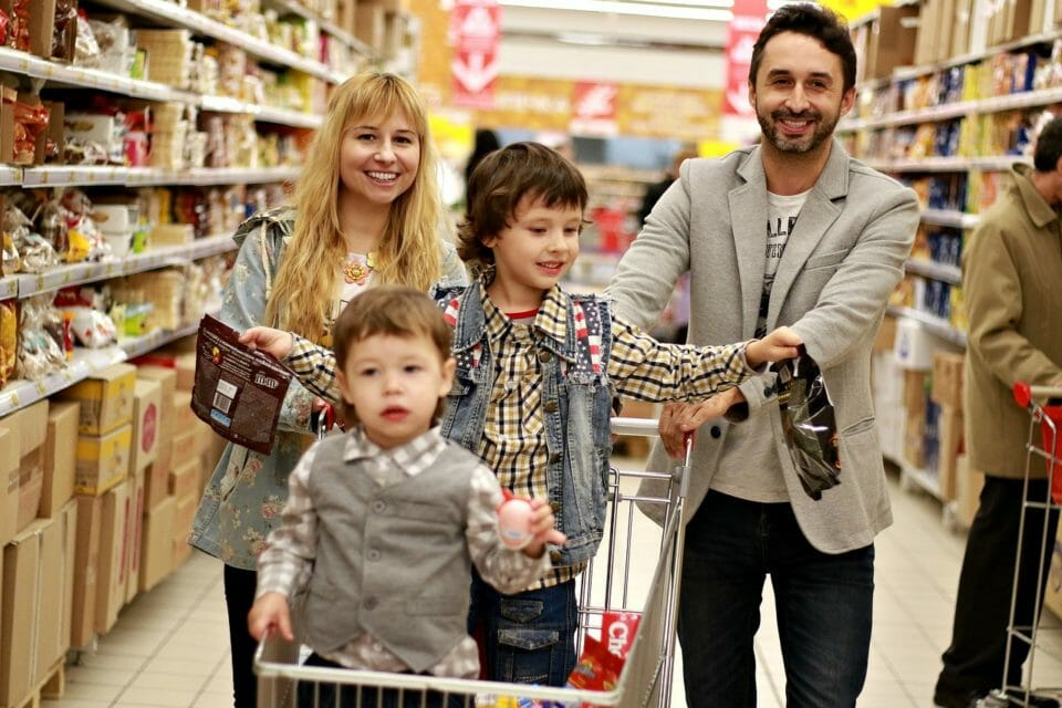 Parents and kids at the supermarket