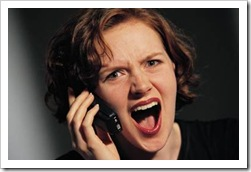 Woman upset on the phone