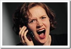 Woman upset on the phone