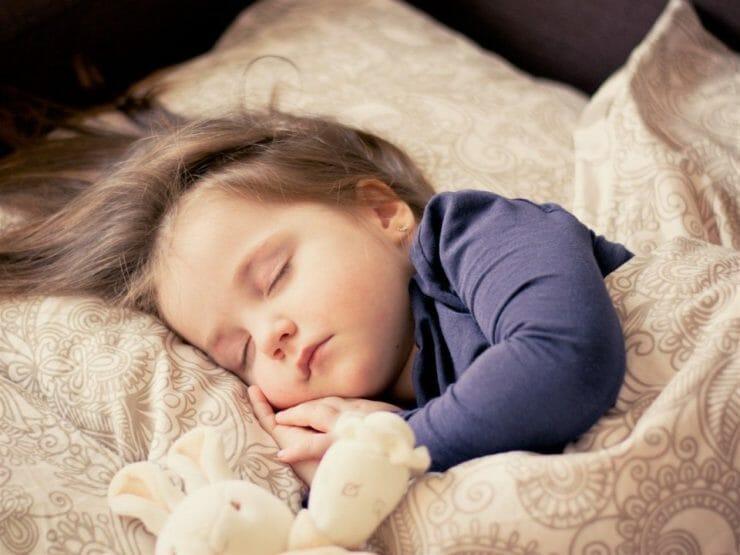 Sleeping little girl with stuffed bunny