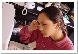 Teen girl on computer