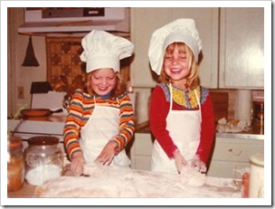 Two girls baking