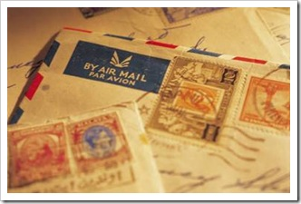 Air mail envelopes with overseas addresses