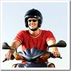 Smiling motorcycle rider