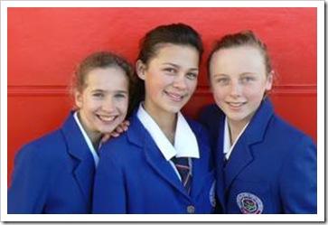 3 girls in school uniform