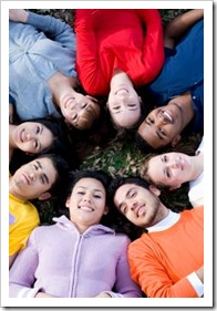 Group of teens on the grass