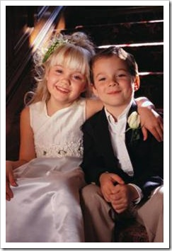 Kid bride and groom