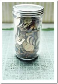 A jar with coins