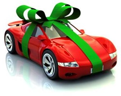Gift-wrapped sports car