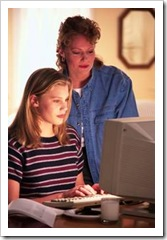 Mother and daughter at the computer