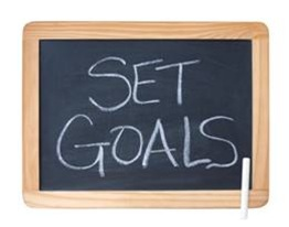 Set goals written on board