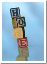 Cubes spelling HOPE