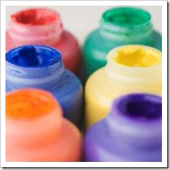 Colorful paint jars