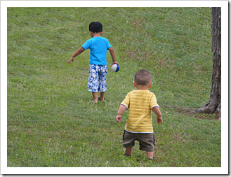 Little boys playing in the park