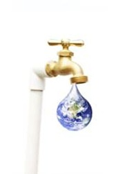 Tap with a drop-shaped world