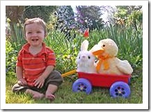Toddler with toys in cart