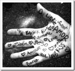 Written expressions of love on a hand
