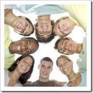 Circle of happy teens
