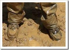 Muddy legs and feet