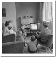 60's family watching TV