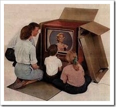 Family watching old TV