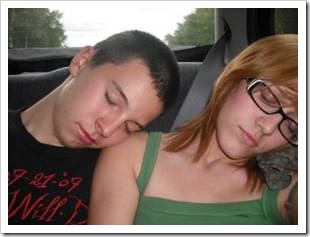 Teens sleeping in car