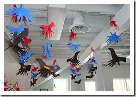 Hand art on ceiling