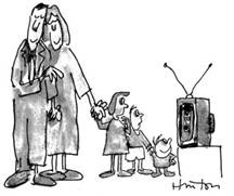 Family watching TV cartoon