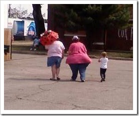 Fat women with child