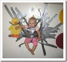 Baby stuck to a wall